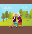 elderly people in park seniors outdoor vector image vector image