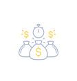 fast loan money line icon vector image vector image
