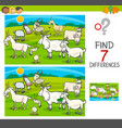 find differences game with goats animal characters vector image vector image