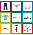 flat icon clothes set of cravat lingerie vector image vector image