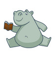 funny hippo sits in weird position and reads book vector image vector image