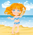 Girl listen sound of the sea in shell on beach vector image vector image