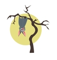 Grey bat hanging on a dry tree vector image vector image