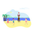 group of happy girls playing relaxing on beach vector image vector image