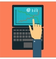 Hand showing on the laptop vector image vector image