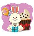 happy birthday card with cute rabbit vector image vector image