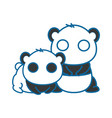 isolated cute two panda bears vector image vector image