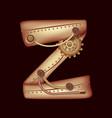 letter z of mechanic alphabet steampunk font vector image vector image