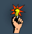 light bulb in hand vector image vector image