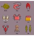 Line art Sea food icon set Infographic elements