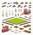 Lumber mill construction set vector image