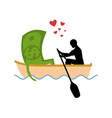 Man and money and ride in boat Lovers of sailing vector image vector image