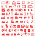 media and communication icons red edition vector image vector image