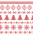 Nordic pattern with Christmas elements stitched vector image vector image