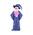 old wizard man in robe and hat stands making magic vector image vector image