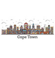 outline cape town south africa city skyline with vector image