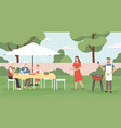people at barbecue happy family friends spending vector image vector image