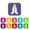 prayer icons set flat vector image vector image