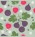red figs seamless pattern leaves flowers vector image vector image