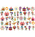 set different circus objects vector image vector image
