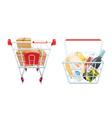 Shopping Cart And Basket Set vector image vector image