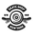 skateboarding emblem with wheel and deck vector image vector image