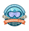 snowboard club patch concept for shirt vector image vector image