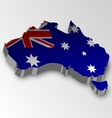 Three dimensional map of Australia in flag colors vector image vector image