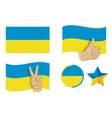 Ukraine flag icons set vector image