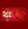 valentines day sale design with red heart shape vector image