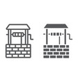 water well line and glyph icon farming vector image vector image