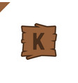 wooden alphabet or font blocks with letter k in vector image
