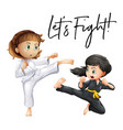 word expression for lets fight with two girls vector image vector image