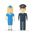 profession pilot and stewardess vector image