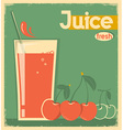red cherry juice on card background vintage vector image