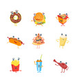 cartoon color fast food characters icons set vector image