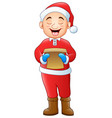 cartoon santa singing chris vector image vector image