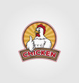 chicken logo design chicken cartoon on badge vector image vector image