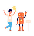 child and robot student robotic competition vector image