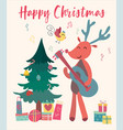 christmas card reindeer plays guitar vector image