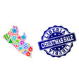 christmas sale composition of mosaic map of vector image vector image