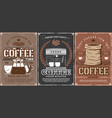 coffee espresso cup and coffee beans bag vector image vector image