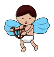 cute cupid love holding harp music vector image