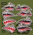 flying tiger shark mouth sticker vinyl on green vector image