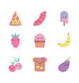 food cute cartoon character menu restaurant diet vector image vector image