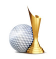 golf game award golf ball golden cup vector image vector image