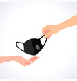 hand to send a mask to other hand vector image