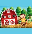 happy monkey at farm house vector image vector image