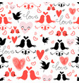 holiday pattern with love birds and hearts vector image vector image