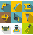 industry work icons set flat style vector image vector image